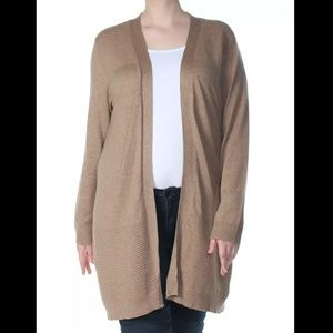 Womens KAREN SCOTT Brown Open Cardigan Size M